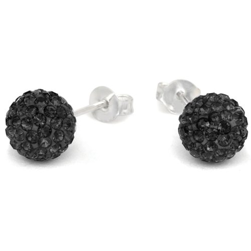 Black Crystal Ball Earrings - 7