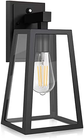 Dusk to Dawn Sensor Outdoor Wall Lantern, Exterior Wall Sconce Fixture with E26 Base LED Bulb, Anti-Rust Waterproof Matte Black Wall Lamp, Clear Glass for Garage, Doorway, Porch, Garden, Courtyard