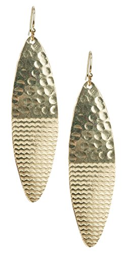 Wavy Etched Lines Hammered Light Weight Surf Board Shape Earrings | SPUNKYsoul (Hammered Shapes)