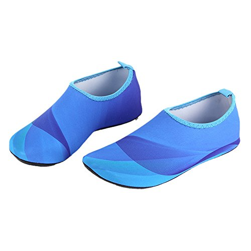 Vertvie Unisex Surfschuhe Strandschuhe Soft Barfuß Wasser Skin Aqua Schuhe Schnell Trocknend Rutschfeste Schwimmschuhe Blau
