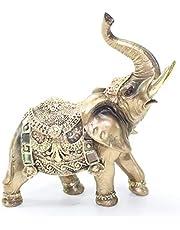 "Feng Shui 7""(H) Brass Color Elegant Elephant Trunk Statue Wealth Lucky Figurine Home Decor"
