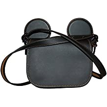 COACH MICKEY Patricia Saddle in Glove Calf Leather with Mickey Ears Bright Black