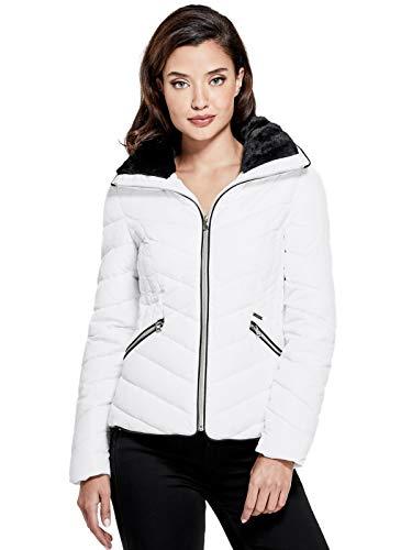 GUESS Factory Women's Cyrus Faux-Fur Puffer - Guess White Jacket