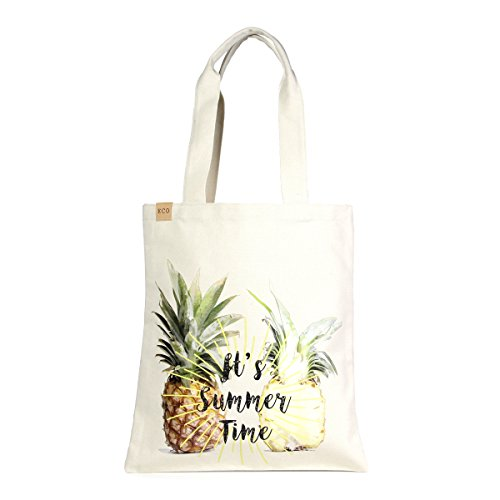 Bag 123 (Eco-Friendly Multi Purpose Fashion Printed 100% Cotton Canvas Beach Shoulder Tote Bag. (NEW-123-Pineapple Summer))