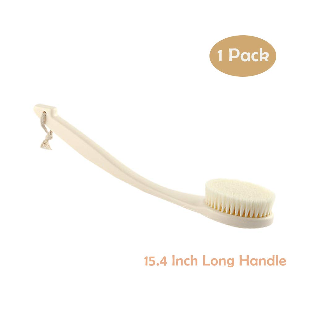 Bath Brush, Soft Long Handle Shower Scrubber& Washer for Exfoliating Self-Cleaning with Non-slip handle and Storage Strap for Hygiene by Shellvcase(Ivory White)