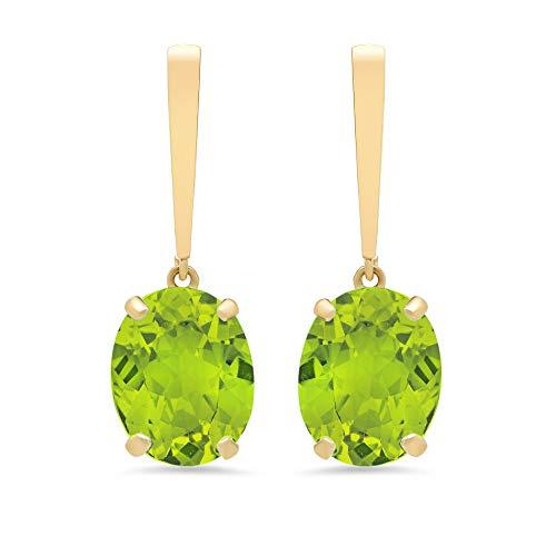 14k Yellow Gold Solitaire Oval-Cut Peridot Drop Earrings (10x8mm)