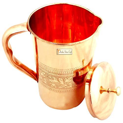 Prisha India Craft Embossed Design Pure Copper Water Jug Pitcher, 1600 ML, Set of 2