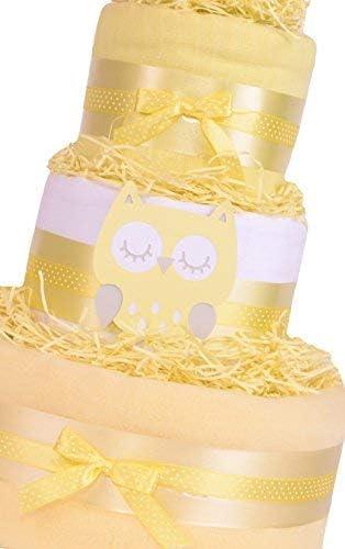 Trendy Owl 3/niveaux g/âteau de couche de douche b/éb/é Cadeau Unisexe Jaune Panier cadeau/ /Fast /& Livraison gratuite.