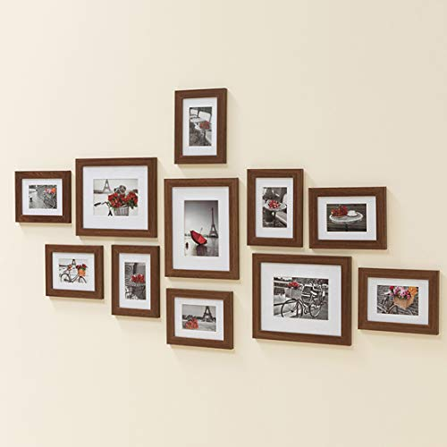 (Muzilife 11 pcs Collage Picture Frame-3pcs 8x10+ 8pcs 5x7 Display Photograph and Wall Décor Photo Frames for Dining Room Bedroom and Living Room (Brown))