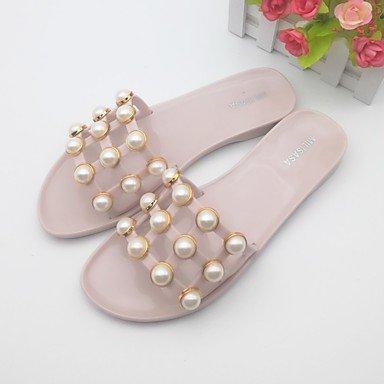 RUGAI-UE Moda de Verano Mujer sandalias casuales zapatos de tacones PU Confort,Blanca,US6.5-7 / UE37 / UK4,5-5 / CN37 Light Pink
