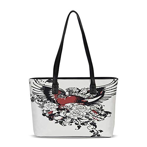 (Modern PU Shoulder Tote Bag,Tattoo Style Heart Crown with Wings Artictic Love V)