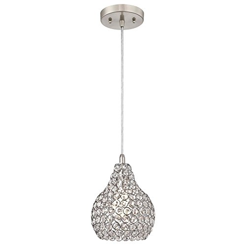 Westinghouse Lighting 6103700 One-Light Indoor Mini Pendant, Brushed Nickel Finish Crystal Jewel Shade