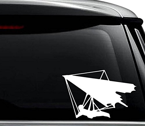 Hang Glider Decal Sticker For Use On Laptop, Helmet, Car, Truck, Motorcycle, Windows, Bumper, Wall, and Decor Size- [6 inch] / [15 cm] Wide / Color- Gloss Black