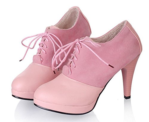 Women's Round Toe Platform High Heels Fashion Ankle Boots Pink - 2