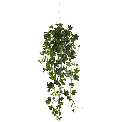 English Ivy Flowers - Nearly Natural English Ivy Hanging Basket Artificial Plant, Green