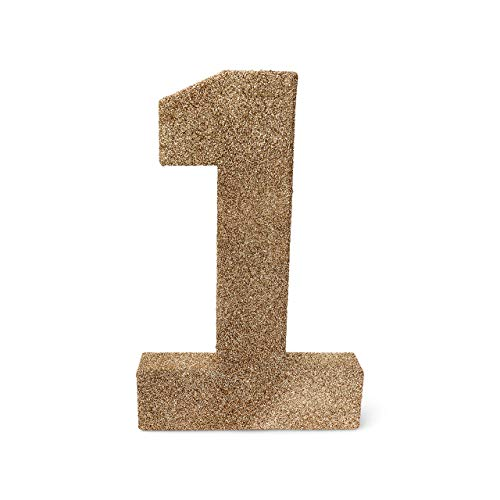 8 inch Rose Gold Glitter Number 1 Photo Prop for 1st First Birthday (1 Photo Prop)