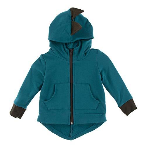 Kickee Pants Little Boys Solid Fleece Zip-Front Dino Hoodie - Heritage Blue with Bark, 6-12 Months -