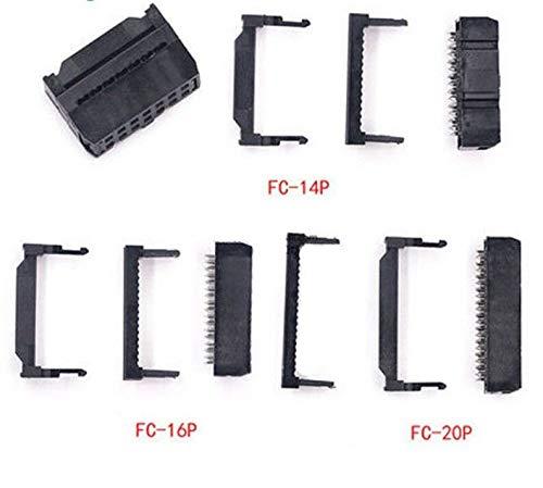 FidgetKute Pin Female IDC Socket Plug Ribbon Cable Pitch 2.54mm FC 6/8/10/12/14/16/18/20 12P One - 12p Sockets