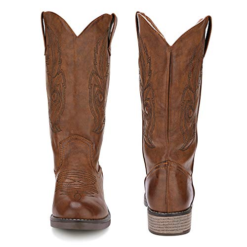 Brown cowboy boots for women wide calf