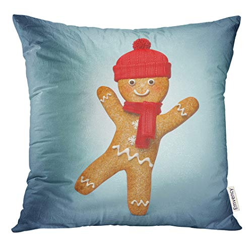 (Emvency Throw Pillow Cover Blue Christmas Active Gingerbread Man 3D Cookie Cartoon Character Wearing Knitted Scarf and Hat Decorated Decorative Pillow Case Home Decor Square 18x18 Inches)
