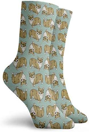 コーギー犬かわいいパターンドレスソックス面白い靴下クレイジーソックス女の子のためのカジュアルな靴下男の子男の子30 cm