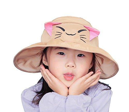 uv Coton Plage Bob Vide En Casquette Chapeau Enfant Acvip De Motif Kaki voyage Anti Soleil Chat Mignon Hat Calotte Pêcheur xT4TvqpB6w