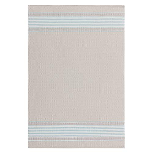 COUCKE French Cotton Jacquard and Honeycomb Weave Towel, Romeo Bleu, 23-Inches by 17-Inches, Tan and Blue