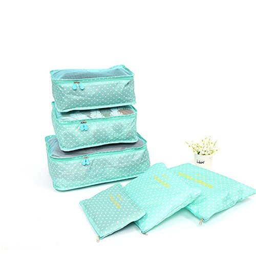 Hihihappy Folding Household portable box waterproof clothes organizer storage box underwear bra packing makeup cosmetic cloth storage 6 Pcs/ set Light Green Deep BlueOne Size