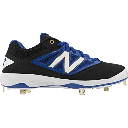 New Balance Men's L4040v3 Low Metal Baseball Cleats White/Black 7.5