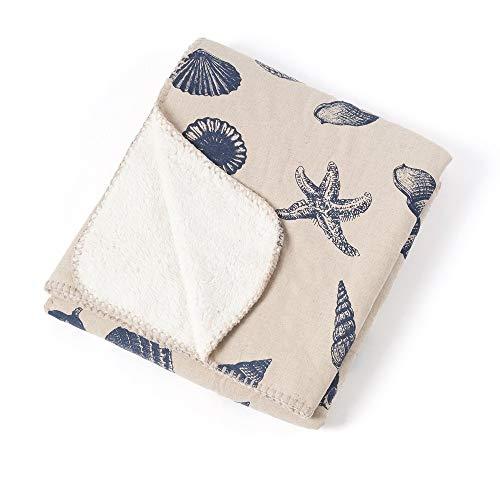 (1 Piece Nautical Design Sherpa Blanket Throw Eye Catching Seaside Beauty Seashells Star Reef Print Theme Coastal 50x60 Throw Blanket Contemporary Look Plain Cozy Knit Blanket Soft Navy Throw Blanket)