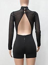 Womens Mock Neck Sheer Mesh Bodycon See Through Jumpsuit Romper Clubwear S Black