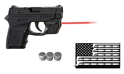 ArmaLaser Deluxe Laser Combo for S&W Smith-Wesson M&P Bodyguard 380 w/Touch-Activated TR24 Red Laser Sight, Guns & Ammo Bumper Sticker & 2 Extra Batteries (Smith And Wesson Bodyguard 380 Laser Battery Size)