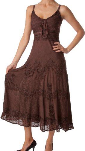 Sakkas 4012 Stonewashed Rayon Embroidered Adjustable Spaghetti Straps Long Dress - Chocolate - L/XL
