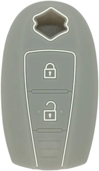 SEGADEN Silicone Cover Protector Case Skin Jacket fit for SUZUKI 2 Button Remote Key Fob CV4543 Black
