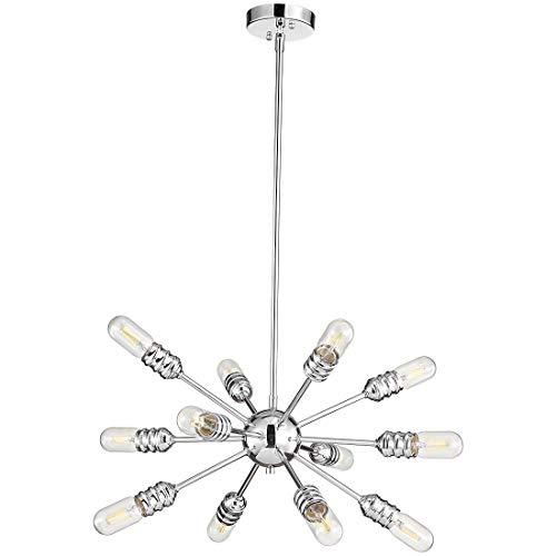 TZOE Sputnik Chandelier, Chrome,Mid Century Modern Sputnik Light Fixture, 12 Light Rustic Chandelier,for Living Room, Dining Room Lights UL Listed