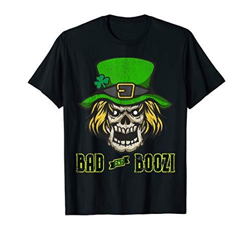 Bad and Boozy Green T-Shirt Scary Leprechaun Skull Head]()