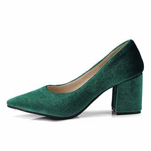 Carolbar Women's Chic Sexy Pointed Toe Block High Heel Dress Shoes Green KQ70REL