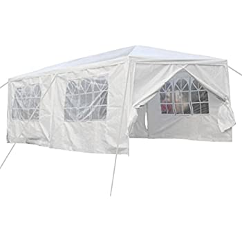 Qisan Canopy Tent Carport 10 X 20 Feet Carport With Sidewalls, White(calm