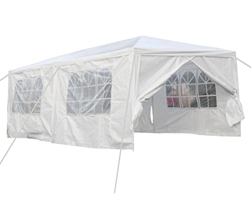 Qisan Canopy tent carport 10 X 20-feet Carport with sidewalls, white(calm environment - Simple Carport