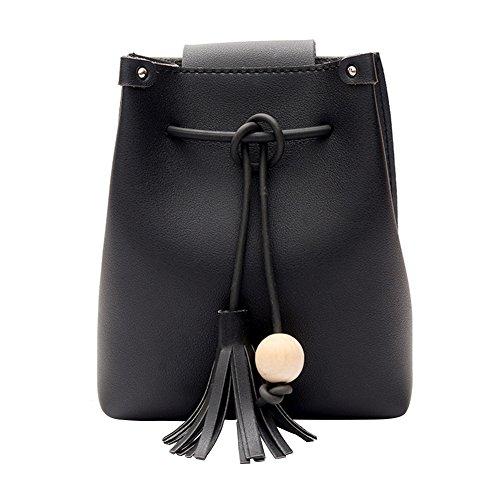 Bag Shoulder Handbag Bucket Bag Tassel Wood Leather Women Phone Ball PU Domybest Crossbody Black Mini OaqwggPB