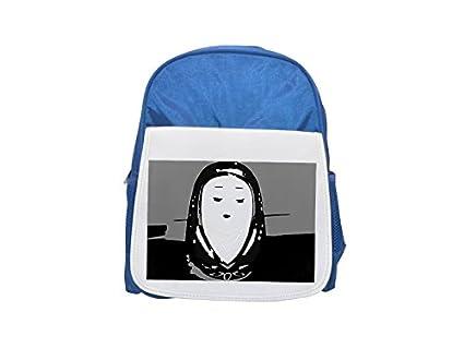 Daruma muñeca en monocromo estampado mochila infantil azul, mochilas lindas, mochilas pequeñas, lindas