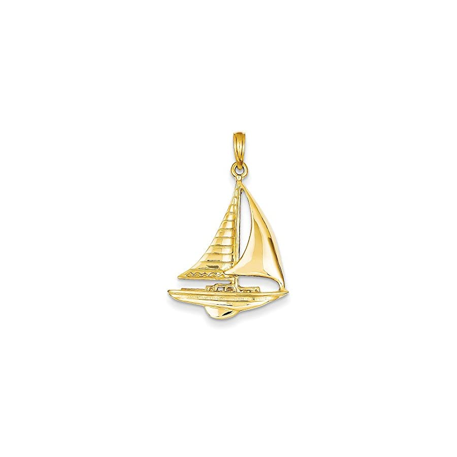 Mireval 14k Yellow Gold 2 D Sailboat Pendant (20 x 32 mm)