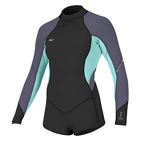 O'Neill Wetsuits Women's Bahia 2/1mm Back Zip Long Sleeve Short Spring, Black/Seaglass/Dusk, 6