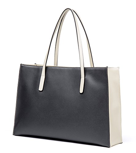 Shoulder Tote Shopping Womens Handbag White Bags Cow Leather Bag Color Pure Black Handle OSONM Bag Top Bag and Y8FwRq8