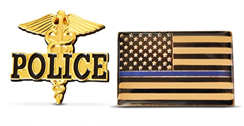 2-Piece Thin Blue Line Flag & Police Lapel or Hat Pin & Tie Tack Set with Clutch Back by Novel (Police Hat Pin)