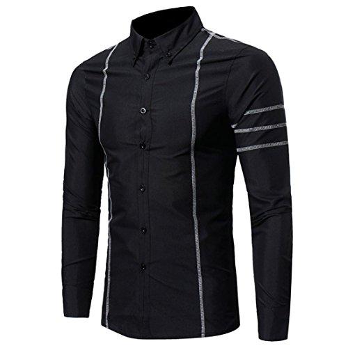 Ximandi New Men Shirt Long Sleeve Regular Slim Fit Male Striped Solid Dress Shirts by Ximandi