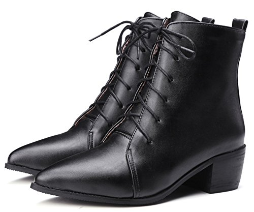 IDIFU Womens Fashion Pointed Toe Mid Block Heels Martin Booties Ankle Boots Lace Up Black INrVeRZq