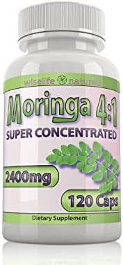 WiseLifeNaturals Moringa Capsules: 4X Potency Pure Leaf Extract Moringa Powder Super Food Green Powder, Complete Green Superfood Powder Wellness Formula Capsules Vegan Whole Foods Vitamins Iron Pills
