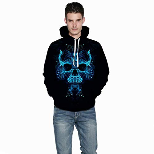 Jessie storee Helloween Hooded Sweatshirt 3D Printed Blue Skull Smoke Print Pullover Hoodie for Men Couples Unisex Horror Clothing Large Size Sweater Loose Baseball Uniform Tide,Black,M
