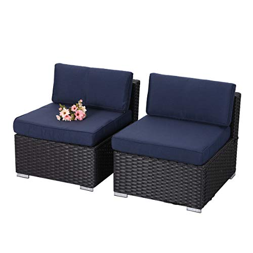 (PHI VILLA 2-Piece Patio Furniture Set Rattan Sectional Sofa with Seat Cushions, Blue)